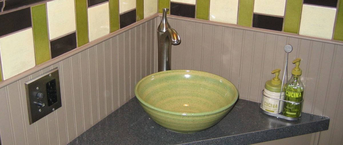 modern small stoneware pottery powder room sink basin