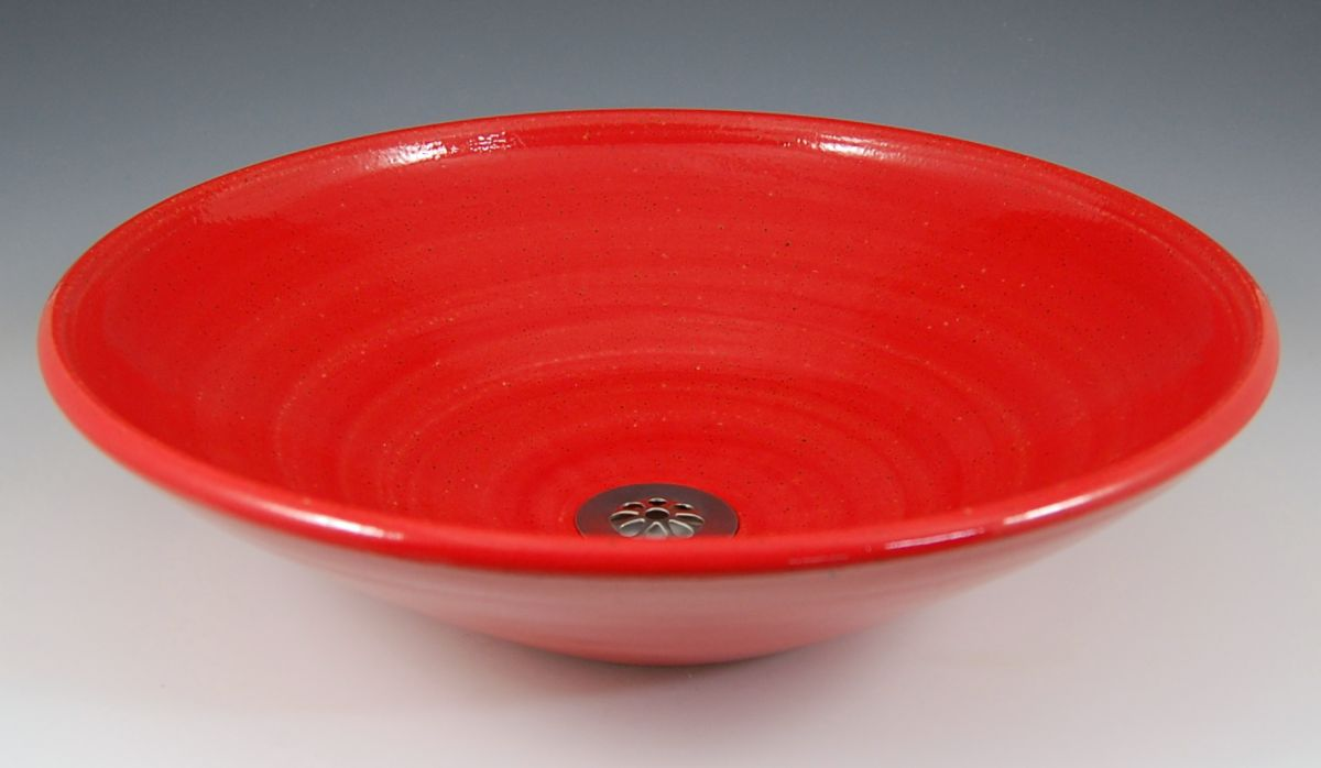 Red pottery bowl Sink