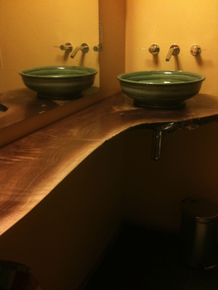 Country stoneware pottery vessel sink basin in green glaze