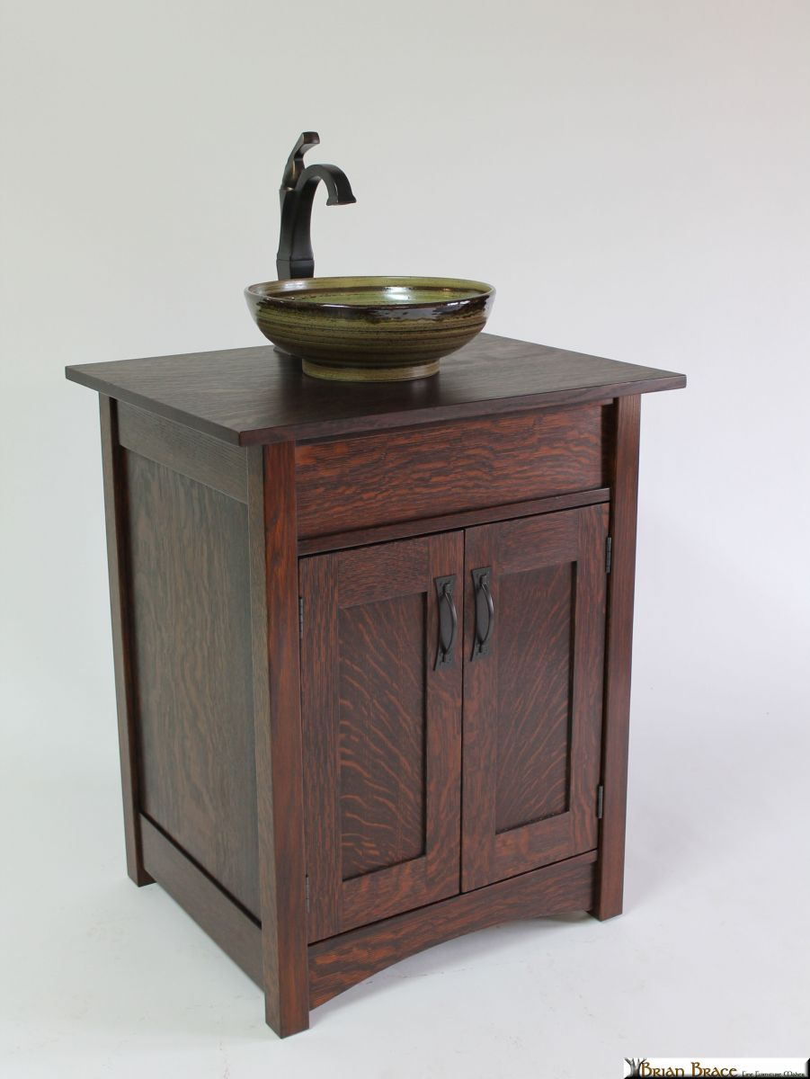 Mission style custom Vanity and bathroom sink in Oil Rubbed Bronze