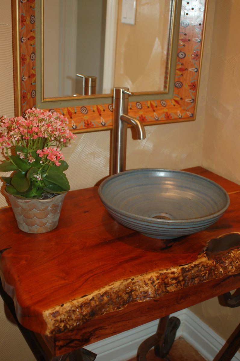 small stoneware pottery powder room sink basin in blue glaze