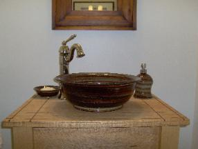 Country stoneware pottery vessel sink basin in brown glaze