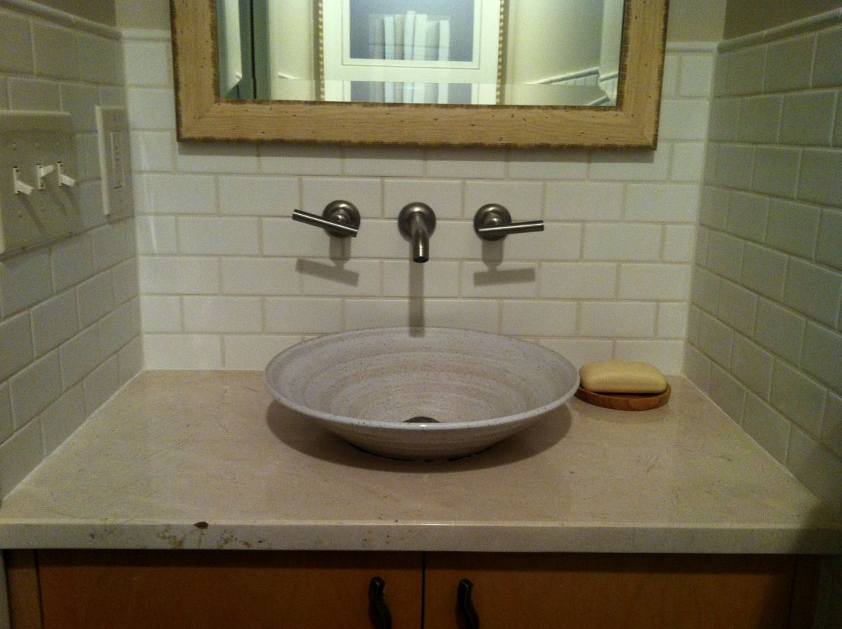 E. C. Racicot's Uptown styled Art SInk in Iron White Glaze