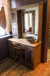 A Delta Style sink in Carmel & Burnt Rose Glazes