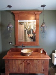 Custom built vanity with our Florence Vessel Sink